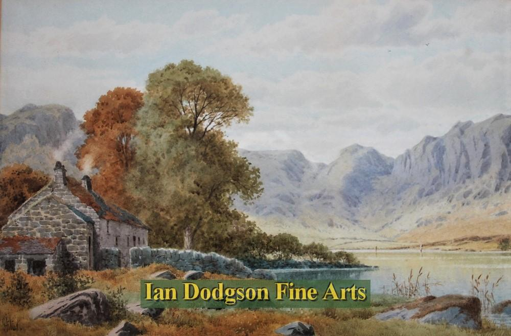 Cottage by lake, N Wales by Henry Hilton